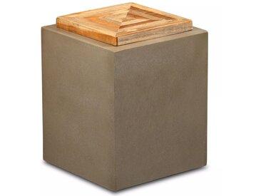 Table d'extrémité Teck de récupération et béton 35 x 35 x 45 cm - vidaXL