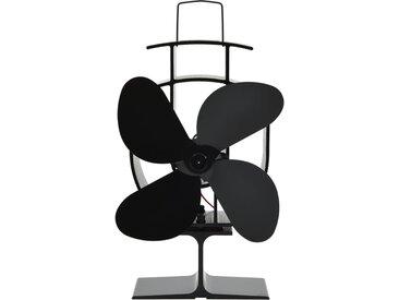 Ventilateur de poêle alimenté par chaleur 4 pales Noir - vidaXL