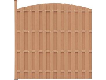 Panneau de clôture avec 1 poteau WPC 180x(165-180) cm Marron - vidaXL