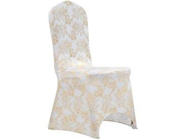 Housses extensibles de chaise 25 pcs Blanc avec imprimé doré - vidaXL