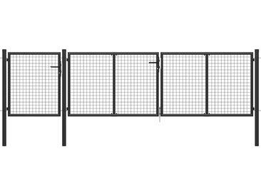 Portail de jardin Acier 400 x 75 cm Anthracite - vidaXL