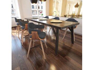 Chaises de salle à manger 6 pcs Gris foncé Bois courbé et tissu  - vidaXL