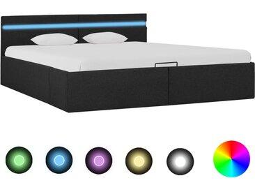 Cadre de lit à stockage avec LED Gris foncé Tissu 180x200 cm  - vidaXL