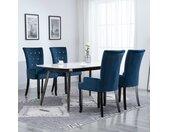 Chaise de salle à manger et accoudoirs 4 pcs Bleu foncé Velours - vidaXL