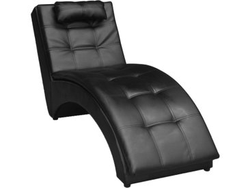 Chaise longue avec oreiller Noir Similicuir - vidaXL