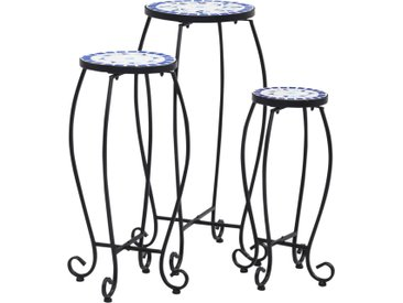 Tables mosaïque 3 pcs Bleu et blanc Céramique  - vidaXL