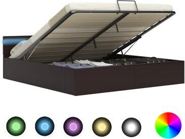 Cadre de lit à rangement avec LED Gris Similicuir 180x200 cm  - vidaXL