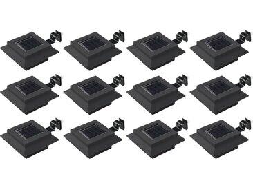 Lampes solaires à LED carrées d'extérieur 12 pcs 12 cm Noir - vidaXL
