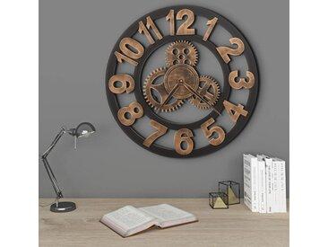 Horloge murale Métal 58 cm Doré et noir - vidaXL