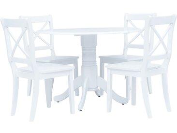 Ensemble de salle à manger 5 pcs Bois d'hévéa Blanc - vidaXL