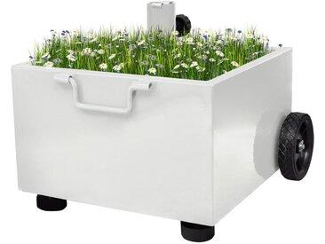 Pot de plantes et support de parasol d'extérieur 2-en-1 Blanc - vidaXL