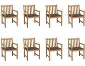Chaises de jardin 8 pcs avec coussins taupe Bois de teck massif - vidaXL