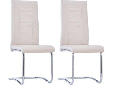Chaises de salle à manger cantilever 2 pcs Crème Tissu - vidaXL