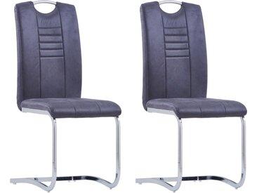 Chaises de salle à manger cantilever 2 pcs Gris Similicuir daim - vidaXL