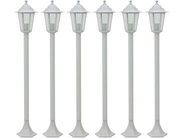 Lampe de jardin à piquet 6 pcs E27 110 cm Aluminium Blanc - vidaXL