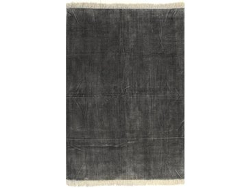 Tapis Kilim Coton 160 x 230 cm Anthracite - vidaXL