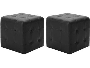 2 pcs Poufs Noir 30 x 30 x 30 cm Similicuir - vidaXL