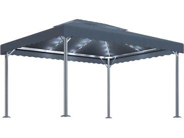Tonnelle à guirlande lumineuse 400x300 cm Anthracite Aluminium - vidaXL