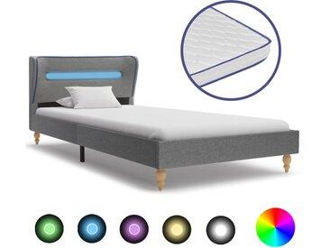 Lit LED et matelas à mémoire de forme Gris clair Tissu 90x200cm - vidaXL