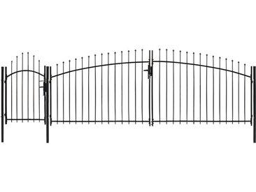 Portail de jardin avec dessus arqué Acier 1,5 x 5 m Noir - vidaXL