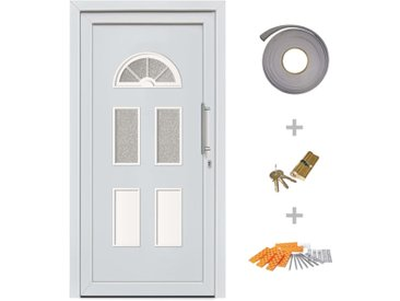 Porte d'entrée principale Blanc 88x200 cm - vidaXL