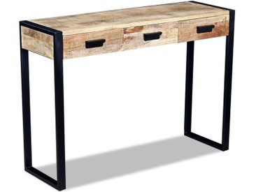 Table console avec 3 tiroirs Bois de manguier 110 x 35 x 78 cm - vidaXL