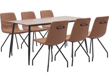 Ensemble de salle à manger 7 pcs Marron Similicuir - vidaXL