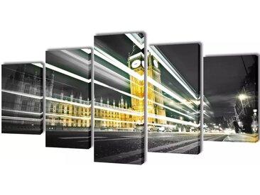 Set de toiles murales imprimées London Big Ben 200 x 100 cm - vidaXL
