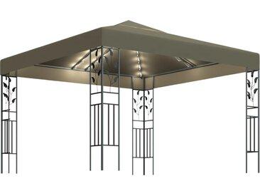 Tonnelle avec guirlande lumineuse 3x3 m Taupe 180 g/m² - vidaXL