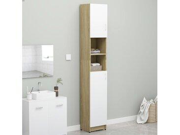 Armoire de bain Blanc et chêne sonoma 32x25,5x190 cm Aggloméré - vidaXL