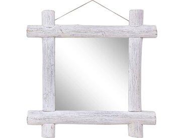 Miroir à bûches Blanc 70x70 cm Bois de récupération massif - vidaXL