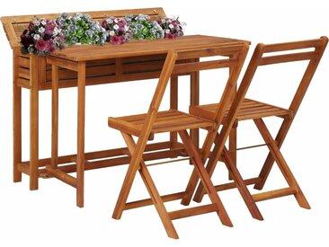 Table de balcon avec 2 chaises de bistro Bois d'acacia massif - vidaXL