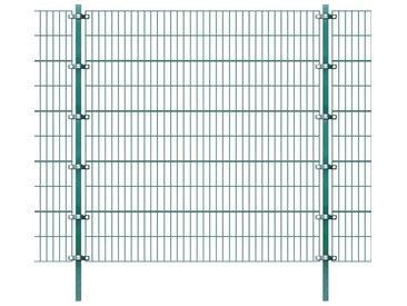 Panneau de clôture avec poteaux 6 x 2 m Fer Vert - vidaXL
