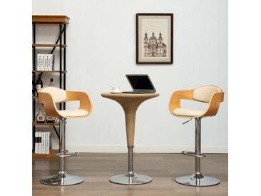 Chaise de bar Crème Bois courbé et similicuir - vidaXL