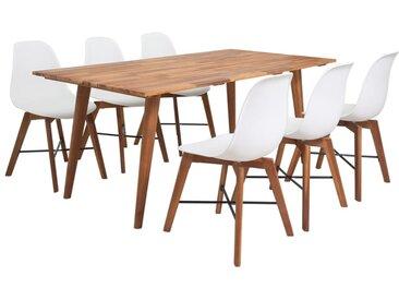 Jeu de salle à manger 7 pièces en bois d'acacia massif blanc - vidaXL