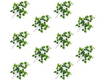 10 pcs Feuilles artificielles de raisin Vert 70 cm - vidaXL