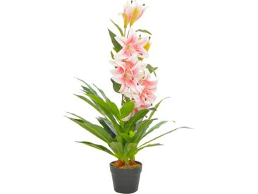 Plante artificielle Lys avec pot Rose 90 cm - vidaXL