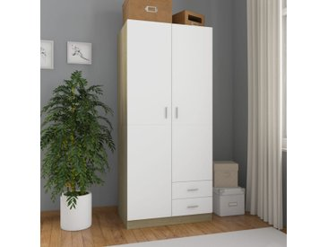 Garde-robe Blanc et chêne sonoma 80x52x180 cm Aggloméré - vidaXL