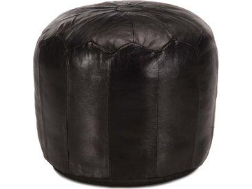 Pouf 40 x 35 cm Noir Cuir véritable de chèvre - vidaXL