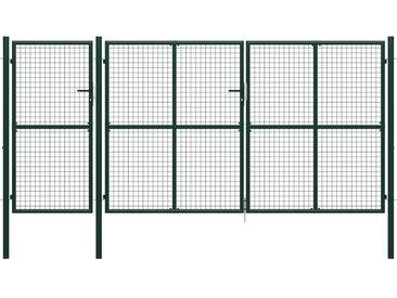 Portail de jardin Acier 400 x 200 cm Vert - vidaXL