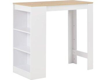 Table de bar avec étagère Blanc 110x50x103 cm - vidaXL
