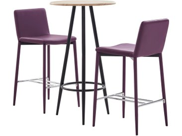 Ensemble de bar 3 pcs Similicuir Violet - vidaXL
