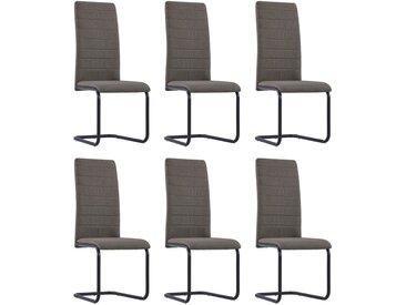 Chaises de salle à manger cantilever 6 pcs Taupe Tissu - vidaXL