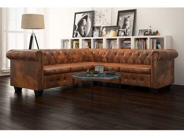 Canapé d'angle Chesterfield 5 plcs Cuir artificiel Marron  - vidaXL