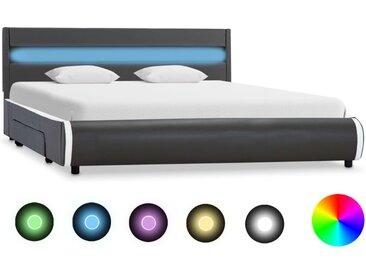Cadre de lit avec LED Anthracite Similicuir 140x200 cm  - vidaXL