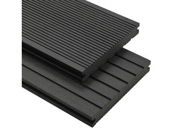 Panneaux de terrasse solides et accessoires WPC 16m² 2,2 m Noir - vidaXL