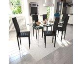 Lot de 6 chaises noires aux lignes fines avec une table en verre - vidaXL
