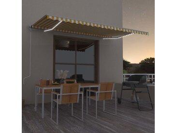 Auvent manuel rétractable avec LED 500x300 cm Jaune et blanc - vidaXL