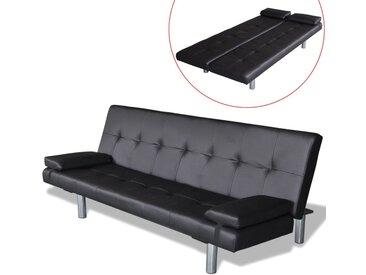 Canapé-lit réglable avec 2 oreillers Cuir synthétique Noir   - vidaXL