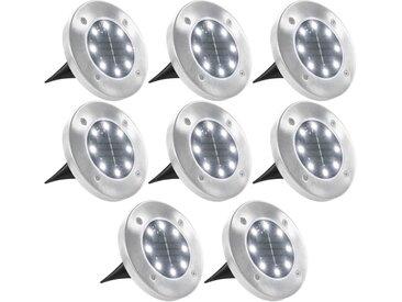 Lampe solaire de sol 8 pcs Lumières LED Blanc - vidaXL